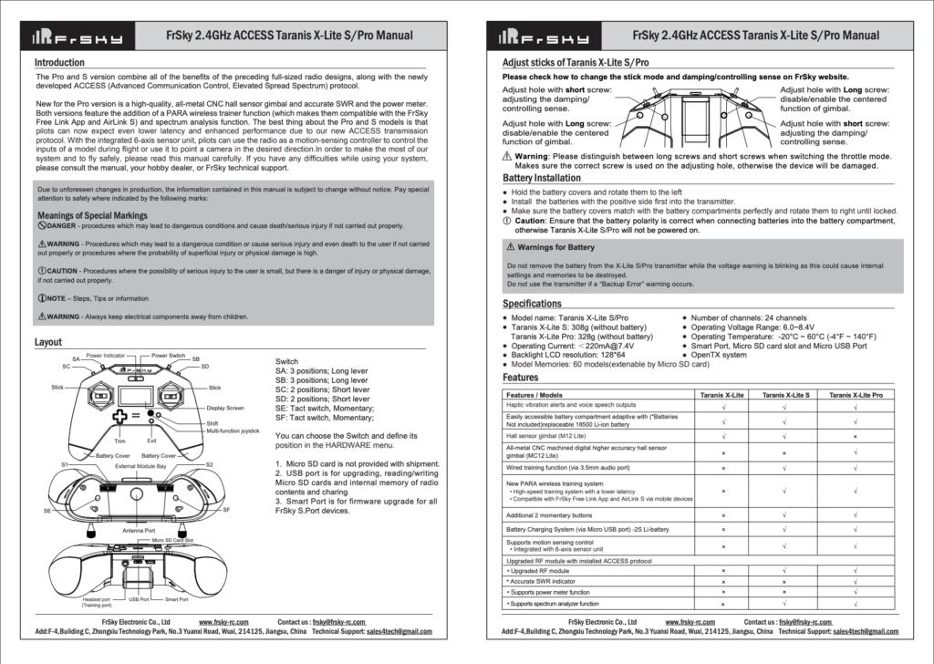 Frsky X-Lite Pro Manual