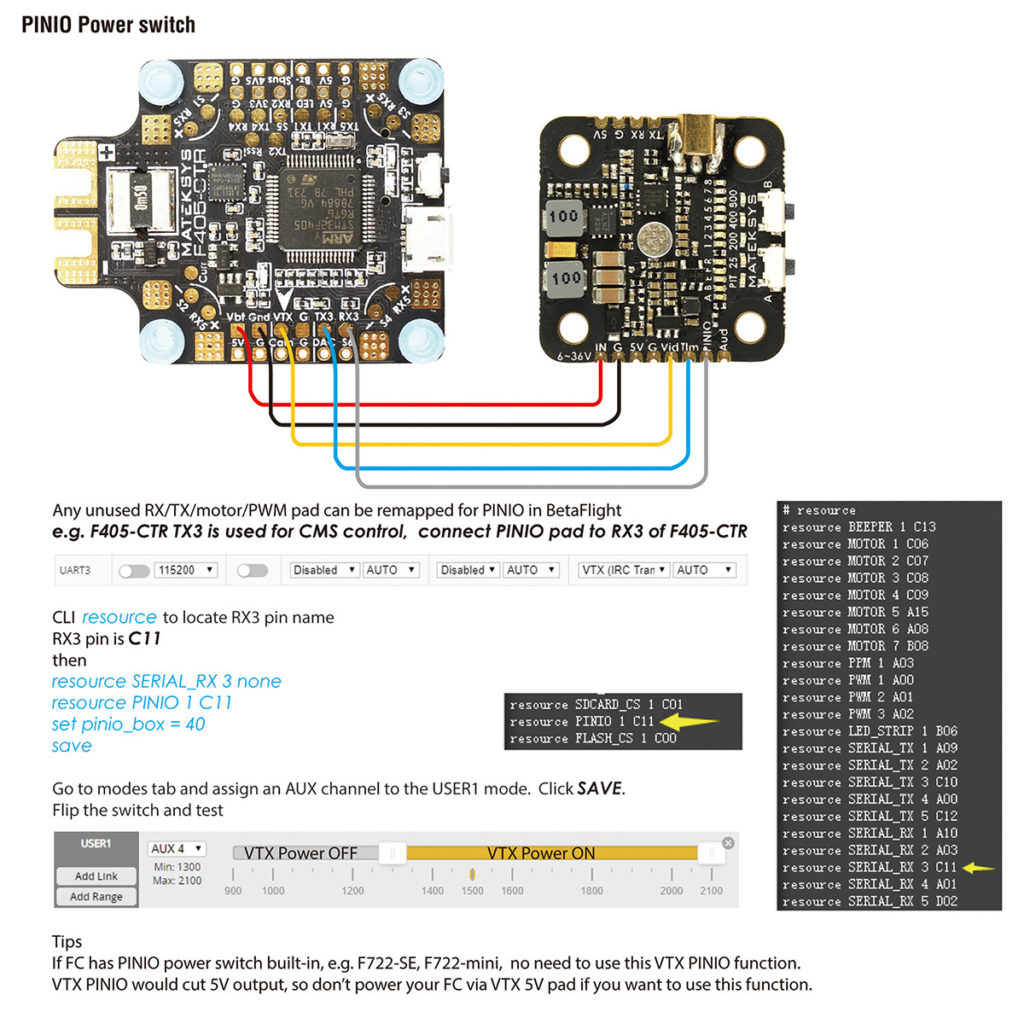 Matek VTX-mini Pinio Power Switch
