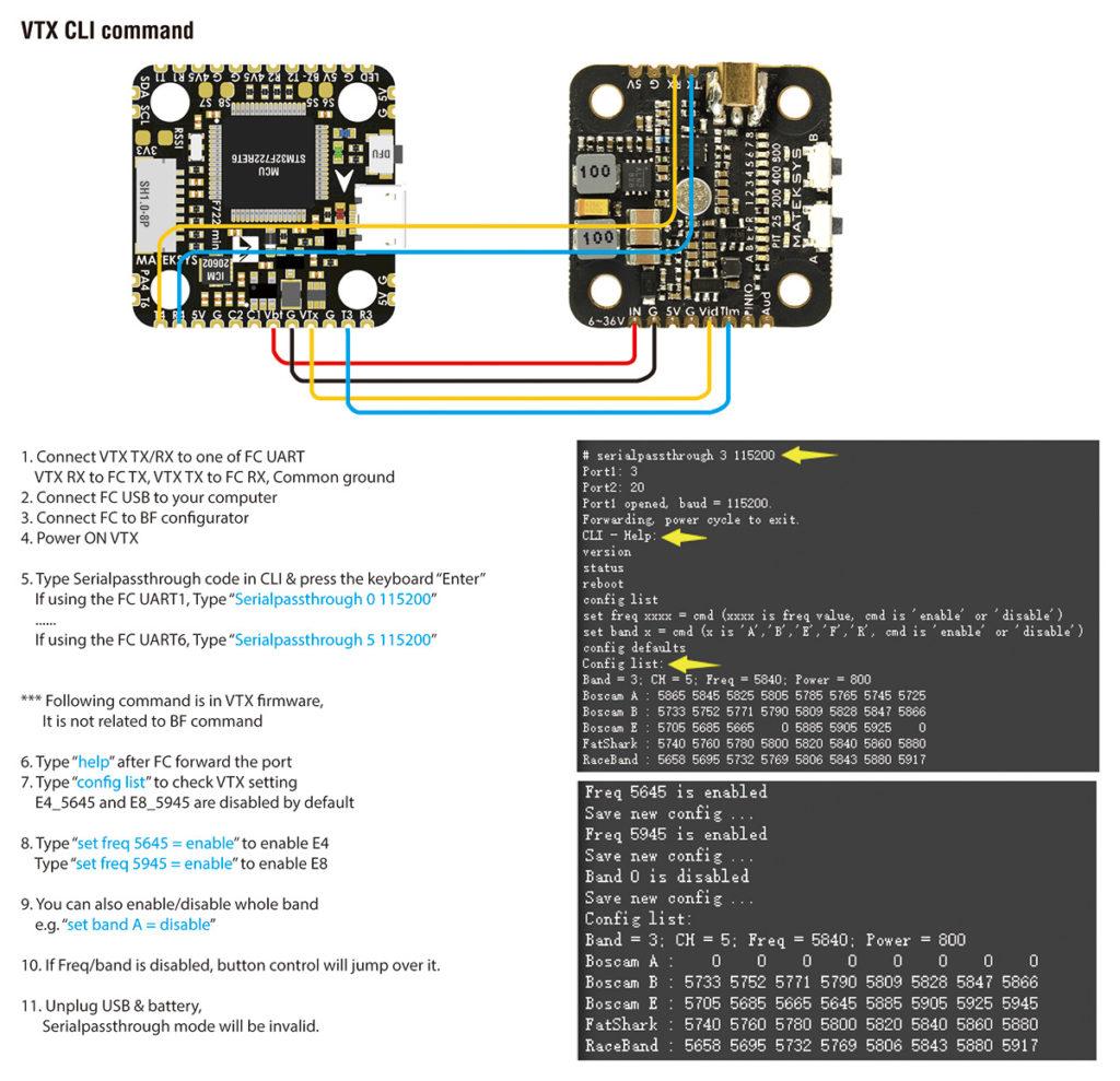 Matek VTX-mini VTX CLI Command